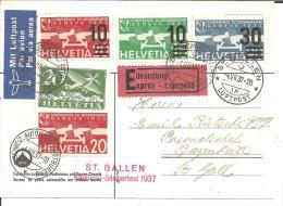 CH372a/- SCHWEIZ  St. Gallen 1937 Furhpostamt-Karte Mit Flugpostmarken Per Eilboten-Express - Suisse