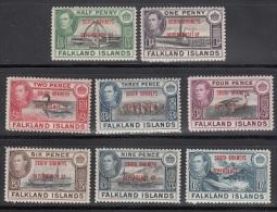 Falkland Isl.  Scott No4L1-8  Unused Hinged   Year  1944 - Falkland