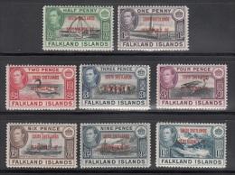 Falkland Isl.  Scott No 5L1-8  Unused Hinged   Year  1944 - Falkland