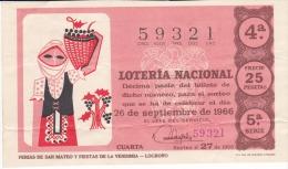Billete De 1966 Ferias De San Mateo Y Fiestas De La Vendimia - Billetes De Lotería