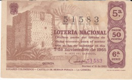 Billete De 1965 Lugares Colombinos-Castillo De Hernan Peraza-La Gomera - Billetes De Lotería