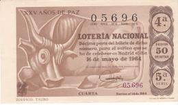 Billete De 1964  Zodiaco -Tauro - Billetes De Lotería