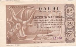 """Billete De 1964  Zodiaco -Tauro--""""25 AÑOS DE PAZ"""" - Billetes De Lotería"""