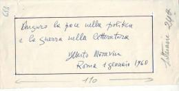 MANUSCRIT D' ALBERTO MORAVIA ( 1907 -1990) Signé Daté 1960 - Manuscrits
