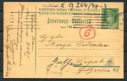 1947 Belgrade Beograd - Zagreb Postal Stationery Postcard - 1945-1992 Socialist Federal Republic Of Yugoslavia