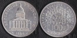 """SUPERBE---PIECE 100 FRANCS ARGENT 1984 """"Pantheon""""---ETAT : SUP//SPL - N. 100 Francs"""