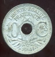 FRANCE  10 Centimes 1941 . Points Et Centimes Souligné - France
