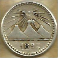 GUATEMALA 1/4 REAL VOLCANOS FRONT ANIMAL BACK 1893 AG SILVER VF+ KM? READ DESCRIPTION CAREFULLY !!! - Guatemala