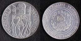 "SUPERBE ET ASSEZ RARE---PIECE 100 FRANCS ARGENT 1990 ""Charlemagne""---ETAT : SUP - N. 100 Francs"