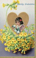 MAGNIFIQUE Illustrée Gaufrée Dorée : Petite Fille Dans Un Coeur Doré Et Dans Des Primevères - Abbildungen