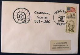 """ETATS UNIS  Oblitération Temporaire """"CENTENNIAL STATION """" Sur Enveloppe  19/07/1989  SHELLS WY - Fossili"""