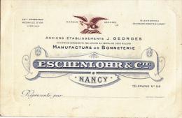 """¤¤  -  NANCY   -   CDV De La Manufacture De Bonneterie """" ESCHENLORR & Cie """"  -  Voir Description  -  ¤¤ - Visiting Cards"""