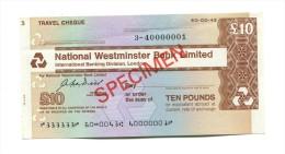 "Grande-Bretagne Great Britain 10 Pounds """"CHEQUE De VOYAGE "" TRAVELLERS CHEQUE """" SPECIMEN National Westminster Bank - Gran Bretagna"