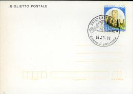 1983 BIGLIETTO POSTALE 300 L 1983 CASTELLO RANCIA TOLENTINO FDC CAGLIARI - Postwaardestukken