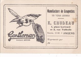 """ANGERS - CDV De La Manufacture De Casquettes """"GENTLEMAN"""" - E.Chudeau 1 Place Loricard Et 2 Rue Tuliballe - Cartes De Visite"""