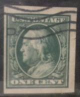 N333.-. 1908-09 .-. USA.-.SCOTT #: 343 .-. USED IMPERFORATE ,  FRANKLIN  .-. CV US $ 5.50 / EUR  4.15 - Gebraucht