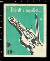 Poster Stamp - Hungarian Matchbox Label  -  Music Instrument Violin Violine - Matchbox Labels
