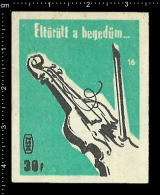 Poster Stamp - Hungarian Matchbox Label  -  Music Instrument Violin Violine - Boites D'allumettes - Etiquettes