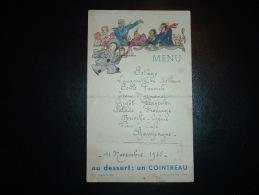 MENU ILLUSTREE PIERROT UN COINTREAU 11 NOVEMBRE 1935 MR GOEFFROY - TAMBOUR - Menus