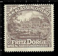 Old Original German Poster Stamp (cinderella,reklamemarke ) Lottery - Fritz Doerge Stadtpark Wien City Park Vienna - Cinderellas