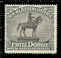 Old Original German Poster Stamp ( Cinderella,reklamemarke ) Lottery - Fritz Doerge Sculpture Radetzky Memorial - Sculpture