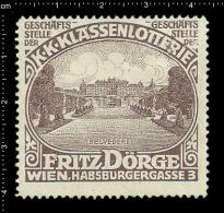 Old Original German Poster Stamp ( Cinderella,reklamemarke) Lottery - Fritz Doerge Belvedere Austria Museum Österreich - Erinnophilie