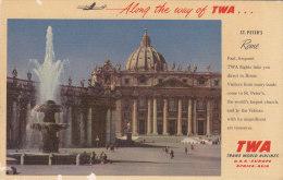 AIRLINE  TWA S ROME  Carte Publicitaire Italie - 1946-....: Moderne