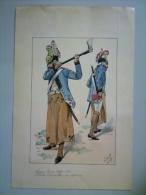 Planche Ancienne Tenue Corse Soldats Charpentiers Ou Sapeurs Par JOB. - Lithographies