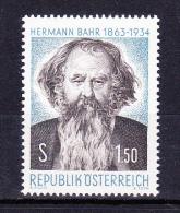 AUSTRIA   1963 ,  Hermann Bahr - Poete  , Y&T   #  968 ,   Cv  0.70 E ,  ** M N H , V V F - 1945-.... 2a Repubblica