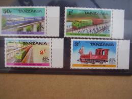 TANZANIA  1976  RAILWAY TRANSPORT FULLSET MNH Four Values To 3/- - Tanzania (1964-...)