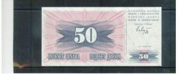 BOSNA I HERCEGOVINA , Narodna Banka Bosne I  Hercegovine , 1.7.1992  ,   50 Dinara ,  Pick # 12 - Bosnien-Herzegowina