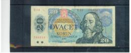TSCHEHOSLOWAKEI , CZECHOSLOVAKIA  , 1988  ,  20 Korun  ,  Pick# 96   ,  Circ - Tchécoslovaquie