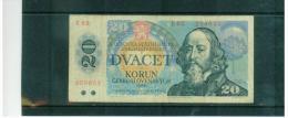 TSCHEHOSLOWAKEI , CZECHOSLOVAKIA   , 1988   ,  20 Korun  ,  Pick# 96  ,  Circ - Tschechoslowakei