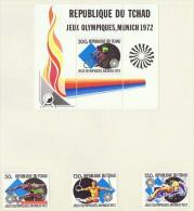 1972  Jeux Olympiques De Munich  Saut, Gmnastique, Natation, Cyclisme 3 Timbres + 1 Bloc Tous * MH - Chad (1960-...)