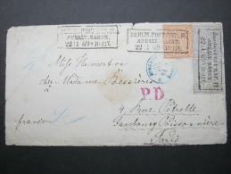 1869, Berlin Anhalterbahnhof, Briefvorderseite Nach Paris, Dekoratv - North German Conf.