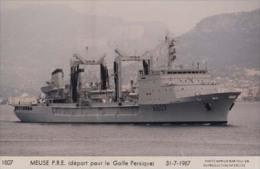 Pétrolier MEUSE (Marine Nationale) - Carte Photo éd. Marius Bar - Bateau/ship/schiff - Warships