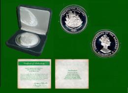 Bahamas Silber Queen Elisabeth And Columbus 25 Dollars 1987 PP, Diameter 63 Cm In Plastikbox Und Etui (1 Stück) (M19) - Bahamas