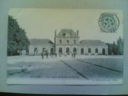 CPA DE RETHEL La Gare Et Le Rond Point - Rethel