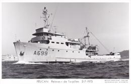 Bateau Marine  Militaire France  A 669 Pelican Repecheur De Torpilles  2-7-1973 Proue Couleur   Marius Bar + Equipage - Guerre