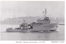 Bateau Marine  Militaire France  A 669 Pelican Releveur De Torpilles 10-5-1971 Marius Bar + Equipage - Guerra