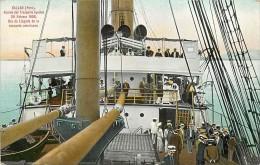 Per� P�rou CALLAO Abordo del Transporte Iquitos 20 febrero 1908 dia de liegada de la escuarda Americana CPA