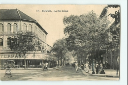 SAIGON - La Rue CATINAT - Hôtel De La Terrasse - Edit. A. F. Decoly - 2 Scans - Vietnam