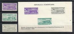 BRUSELAS'58 - REPUBLICA DOMINICANA 1957 - Yvert #509+A132/33+H18 - MLH * - 1958 – Brussels (Belgium)