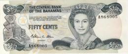 BILLET # BAHAMAS # 50 CENTS   #  1984  # PICK  42  # QUEEN ELISABETH II # DEMI-DOLLAR - Bahamas
