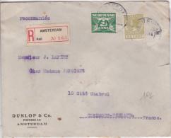 NEDERLAND - 1931 - ENVELOPPE RECOMMANDEE De AMSTERDAM (PNEU DUNLOP) Pour CLERMONT - CACHETS DE CIRE AU DOS - Periode 1891-1948 (Wilhelmina)