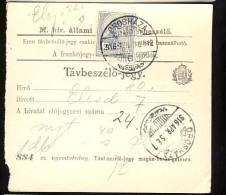 Hungary   OROSHAZA  1916   Telephonic - Ticket    Telefonische - Ticket     TELEPHONE RECEIPT   Tavbeszelo - Jegy - Télégraphes
