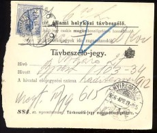 Hungary   NYIREGYHAZA   1916   Telephonic - Ticket    Telefonische - Ticket     TELEPHONE RECEIPT   Tavbeszelo - Jegy - Télégraphes