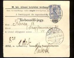 Hungary   KOSZEG   1916   Telephonic - Ticket    Telefonische - Ticket     TELEPHONE RECEIPT   Tavbeszelo - Jegy - Télégraphes