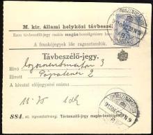 Hungary  GyÅ'r-Szent-Márton Telephonic - Ticket    Telefonische - Ticket     TELEPHONE RECEIPT   Tavbeszelo - Jegy - Télégraphes