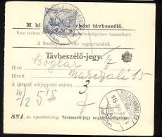 Hungary  DEBRECZEN  1915   Telephonic - Ticket    Telefonische - Ticket     TELEPHONE RECEIPT   Tavbeszelo - Jegy - Télégraphes